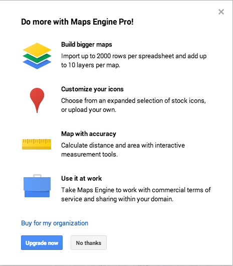 Google Custom Maps upgrade prompt