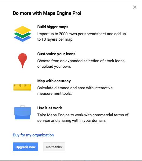 Google Custom Maps upgrade prompt