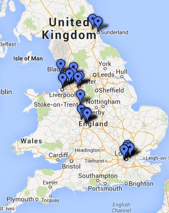 Premier League 2010-11 clubs' location