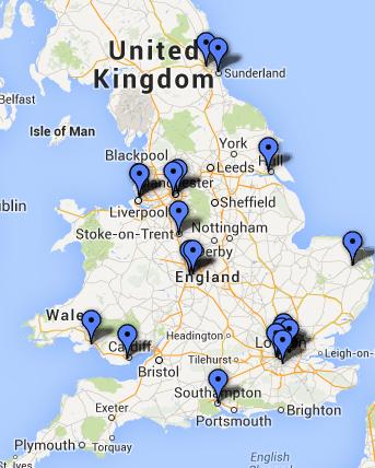 Premier League 2013-14 clubs' location